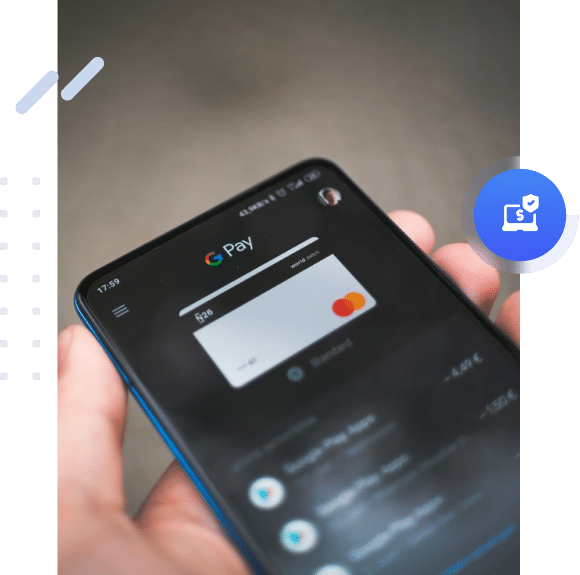Smartphone showing an online payment with Google Pay