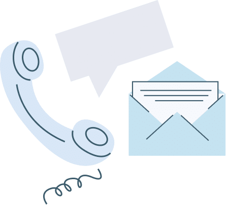 Phone, chat, and mail icons