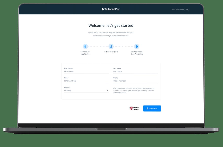 TailoredPay merchant account application on a laptop