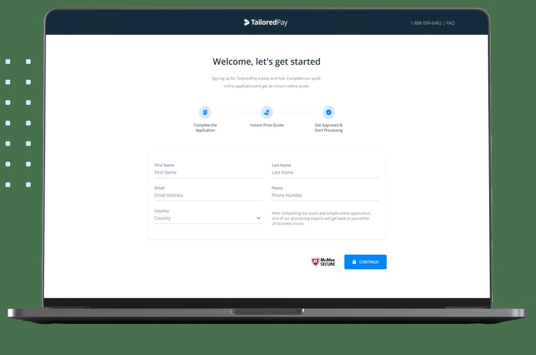 Merchant account application process on a laptop screen.