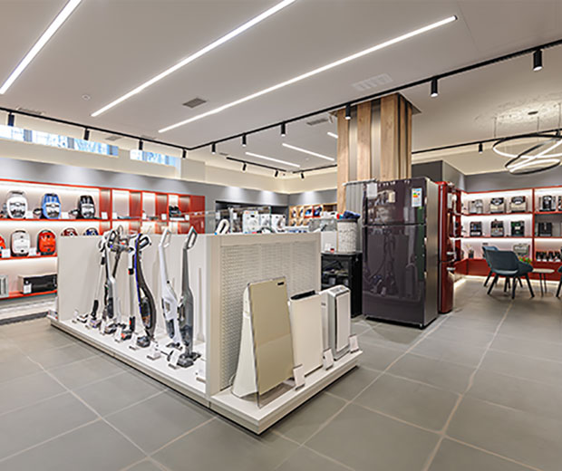 Home appliance and electronics sales floor