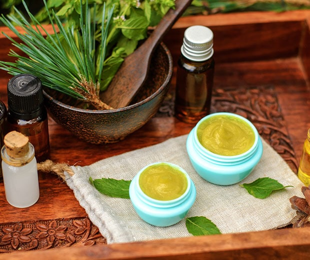 Health products in a wooden container