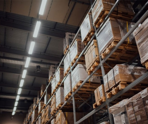 Pallets stacked in a dropshipping warehouse